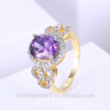 Dois tons banhado a pedra roxa anel anel de casamento de jóias de pedras preciosas