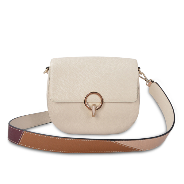 Function Pebble Leather Crossbody Bag Beige