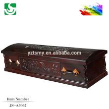 Cercueil de pourpre en bois brillant motifs sculptés antiques