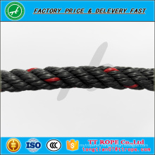 4 strands 13mm red line black color pp recycled rope