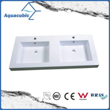 Artificial Marble Double Bowl Wash Basin Sink Acb1247