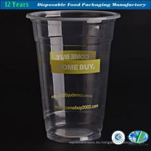 Taza desechable de bebida de plástico transparente con tapa