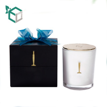 Wholesale cheap candle ribbon decorative wholesale paper wax candle box gift packaging with ribbon bow