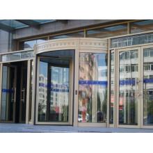 CE Aprobación Automático de cuatro alas Puerta corredera giratoria de vidrio (con caja de exposición)