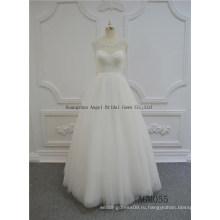 Новый Привлекательный V-Образным Вырезом С Длинным Рукавом Свадебное Платье Из Органзы 2017