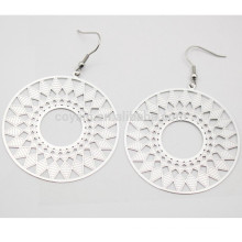 Hollow Geometric Pattern Ethnic Style Stainless Steel Silver Round Drop Earring For Women