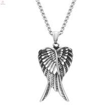 Hip Hop style en acier inoxydable 316L bijoux en argent ange aile pendentif collier