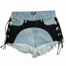 Women's Denim Shorts, Contrast Black Woven Fabric for Decoration