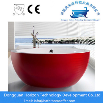 Red round acrylic tub red round bathtub