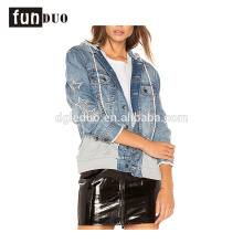 latest design women hoodies denim jacket fashion long sleeve hoodies jacket
