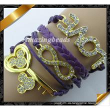 Pulsera encantos cristalinos, joyería cristalina de los resultados, pulsera de cuero al por mayor (fb0121)