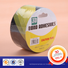 Cinta de advertencia adhesiva del PVC amarillo y negro de la venta caliente 2015