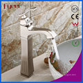 New High Arc Centerset Nickle Brushed Bathroom Brass Basin Faucet