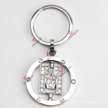 Drehender Buchstabe M Rhinestone-Metall Keychain