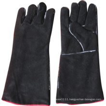 Black Cow Split Leather Welding Work Glove-6524