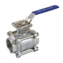 3PC Threaded Ball Valve with Mounting Pad
