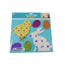 enfants Pâques oeufs lapin eva glitter feuille de mousse stickers muraux