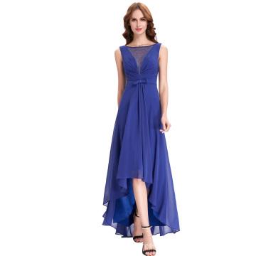 Kate Kasin Sleeveless V-Back High-Low Dark Blue Chiffon Prom Dress KK000099-1