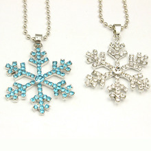 Snowflake Necklace with Blue Nickel Alloy Diamond Pendant and Snowflake Earrings