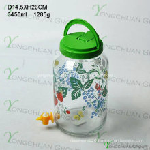 3000ml Big Glass Jar with Faucet Plastic Handle Lid