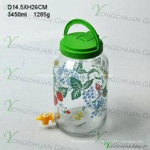 3000ml Big Glass Jar com torneira plástico Handle Lid