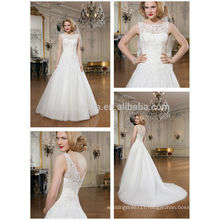 Hot Sale 2014 Jewel Neck V-Shaped Back Lace Applique Tulle Made Long Tail A-Line Wedding Dress Bridal Gown Made In China NB0640
