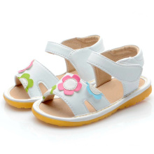 White Flowers Baby Squeaky Sandals