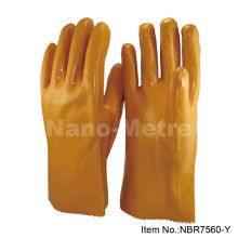 NMSAFETY yellow nitrile dipped gloves/nitrile full coated interlock liner glove/gauntlet nitrile gloves