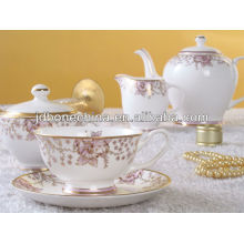 15 pcs flower designe gorgeous gold line of bone china coffee set