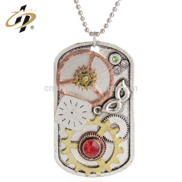 Free design custom zinc alloy 3D gear machine metal dog tag with necklace