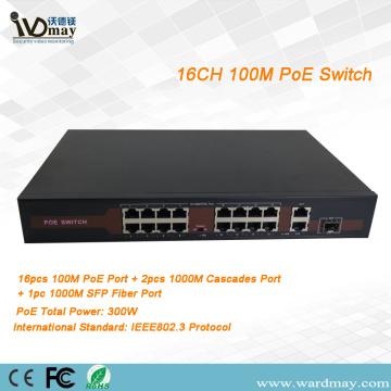 16-Kanal-POE-Switch mit einem Glasfaseranschluss