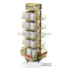 Merchandising Retail Store Fixtures Freistehende Movable Comic Buch Geschenkkarte Spielzeug Display Rack