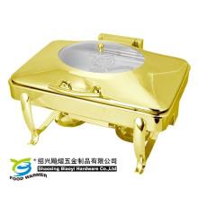Längliche Gold Chaifng Geschirr Buffet Rahmen