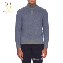 1/4 pull zippé à col montant en laine pour hommes