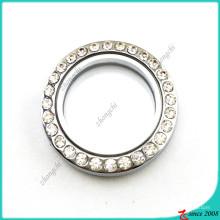 Médaillon rond en verre de 30mm sans pendentif en boucle (FL16041945)