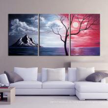 Paisaje decorativo pintura al óleo sobre lienzo