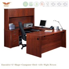 Hot Sale Office U Shape Curved Office Computer Desk Table Furniture with Right Return Hutch (HY-U01)