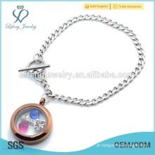 Hot venda aço inoxidável cubano pulseira de cadeia, aço inoxidável 316l Silver & Chocolate pulseira locket flutuante