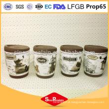 325ml decalque impressão caneca de café com banda de silicone e tampa, caneca de silicone