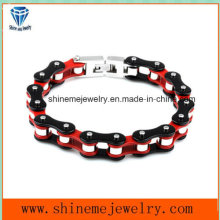 Hot-Selling Stainless Steel Red-Black Single Layer Bicycle Chain Bracelet (BL2816)