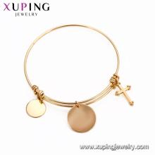 51866 Xuping 18k banhado a ouro cor mais recente projetos de pulseira em ouro sem pedra China atacado