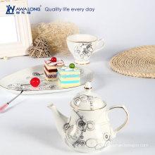 Ensemble de théière à motif linéaire en forme d'engrenage Grace Ensemble de thé en porcelaine