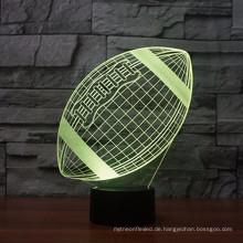 Heißer verkauf in amazon Rugby Fußball 3D Lampe Optische Illusion Nachtlicht, 7 Farbwechsel Touch schalter Tisch Schreibtischlampen