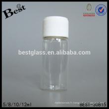 Petit tube en verre bouteille avec bouchon à vis et couvercle en mousse, alibaba china tube tube en verre, 5 ml mini tube bouteille pour huile de parfum, oem