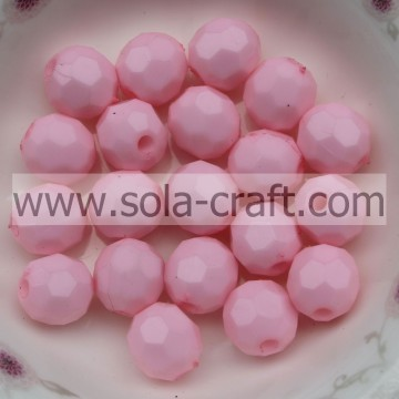 Jewelry Beads Making Findings 4MM Pink Decoration Round 32 Faceted Beads With Acrylic Material