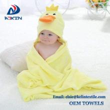 gelbe Ente Design 100% Frottee Baumwolle Baby Kapuzenhandtuch Großhandel