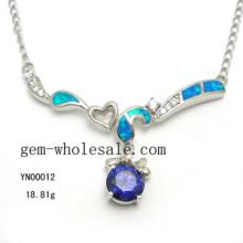 Collar de moda joyería de ópalo plata (YN00012)