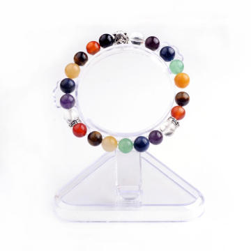 Handmade 7 Chakra Natural Stone Alloy Lion Bead Bangle Bracelet