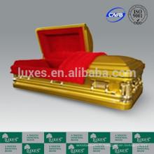 LUXES Style américain 18ga cercueil métallique doré Coffin