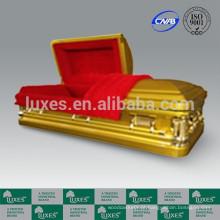 LUXES estilo americano 18ga caixão de Metal dourado caixão